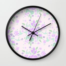 Sweet Rose Lavender Wall Clock