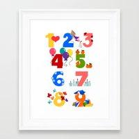 numbers Framed Art Prints featuring numbers by Alapapaju