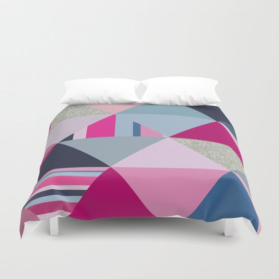 Pink, Blue and Silver Triangles Duvet Cover