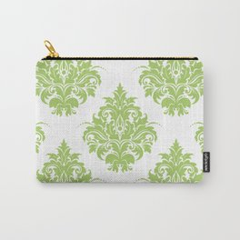 Lime Green Victorian Floral Brocade Damask Carry-All Pouch