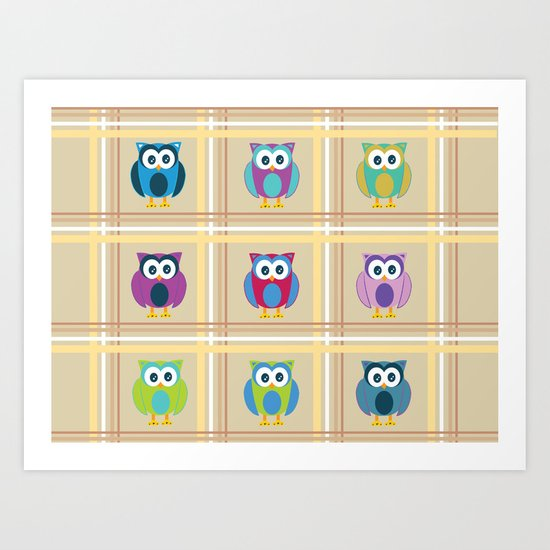 Plaid Owls Art Print