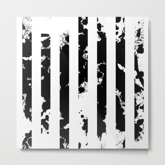 Splatter Bars - Black ink, black paint splats in a stripey stripy pattern Metal Print