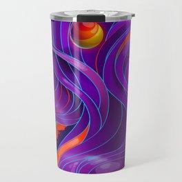 Red and Violet Waves Travel Mug