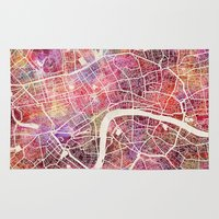 london Area & Throw Rugs featuring London  by MapMapMaps.Watercolors