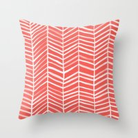 Throw Pillows featuring Coral Herringbone by Cat Coquillette