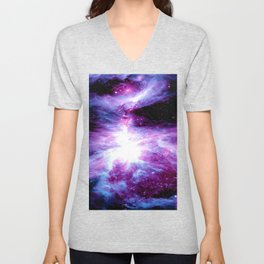 Orion Nebula Purple Periwinkle Blue Galaxy Unisex V-Neck