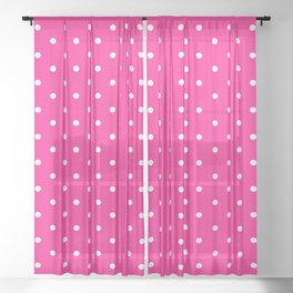 Dotted (White & Rose Pattern) Sheer Curtain