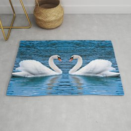 Couple Of Impressive Spectacular White Swans Love Dancing Close Up Ultra HD Rug