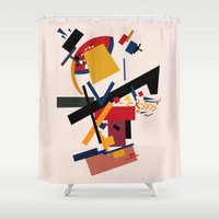 kandinsky Shower Curtains featuring TOO MANY THOUGHTS by THE USUAL DESIGNERS