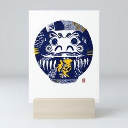 Daruma Dolls in Navy Blue with line doodles Mini Art Print