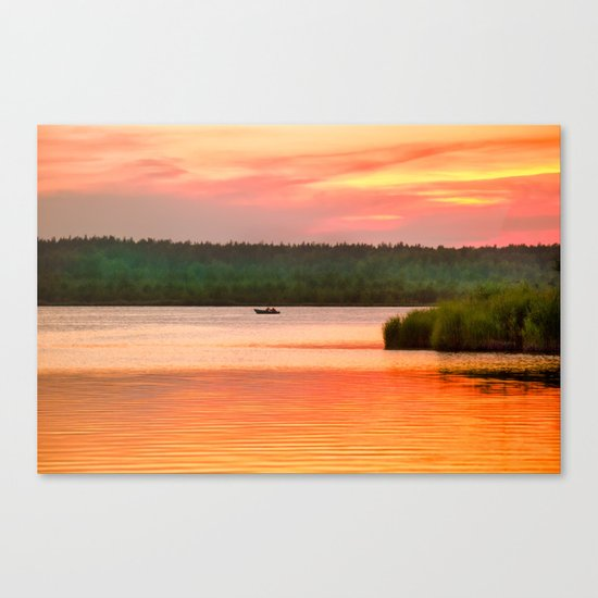 Summer sunset on Wild lake Canvas Print