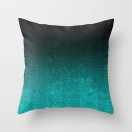 Aqua & Black Glitter Gradient Throw Pillow
