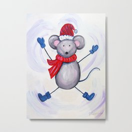 Winter Mouse Metal Print
