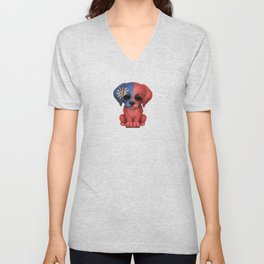 Cute Puppy Dog with flag of Taiwan Unisex V-Neck