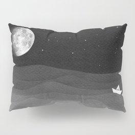 Moon phase, black and white, ocean Pillow Sham