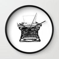 typewriter Wall Clocks featuring Typewriter by Rachel Walsh