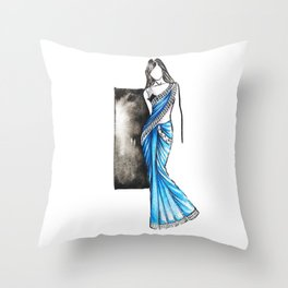 Saree Indian wear fashion illustration Throw Pillow