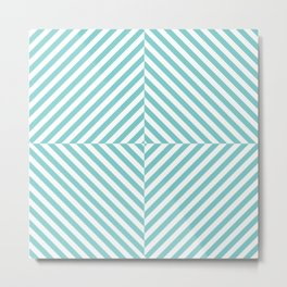 Aqua and White Crazy Square Pattern Metal Print