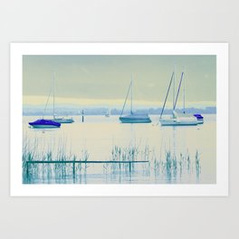 Sailing in soft blue Art Print