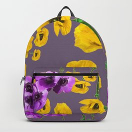 LILAC ANEMONES YELLOW POPPY FLOWERS ON GREY Backpack