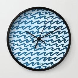 Abstract Metallic Sea Waves Saltwater Taffy Teal on Blue Raspberry Wall Clock