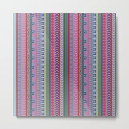 Ethnic Peruvian Striped Pattern Metal Print