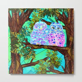 Stained glass forest Owls Metal Print