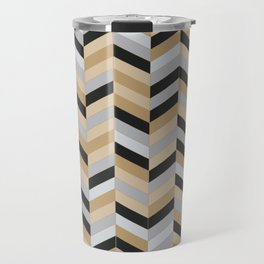 Herringbone - Gold + Silver + Black Travel Mug