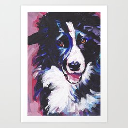 Fun BORDER COLLIE Dog bright colorful Pop Art painting by Lea Art Print