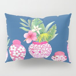 Pink Chinese Ginger jars on classic blue, 2020 Chinoiserie Pillow Sham