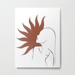 Sun face art print Metal Print
