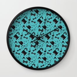Hipster Elements Pattern on blue Wall Clock