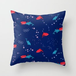 Blue Dolphin and Red Shark Olympic Throw Pillow