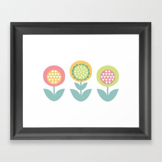 Geometric flower print  Framed Art Print