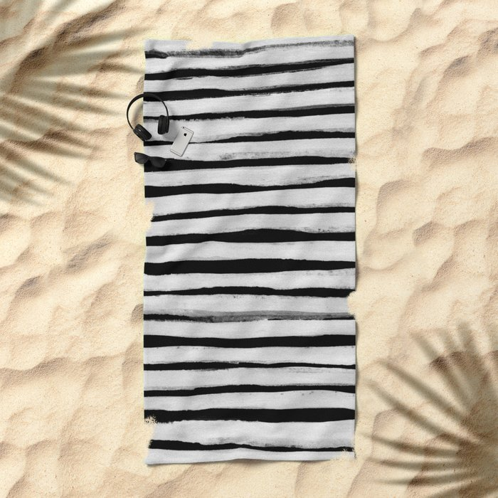 Black and White Stripes II Beach Towel