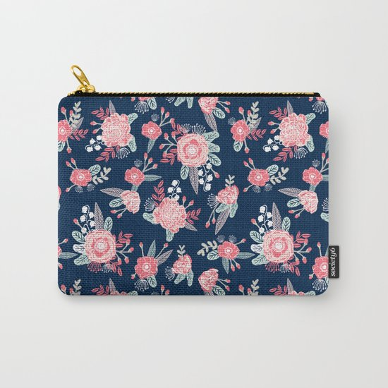 Florals navy coral pink blooms flower pattern girly trendy nursery baby Carry-All Pouch