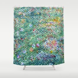 colorful flower filed Shower Curtain