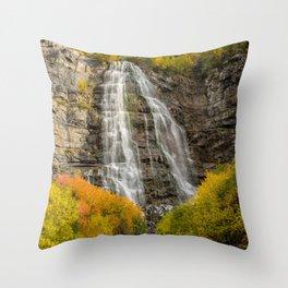 Bridal Veil Falls in Autumn - Provo Canyon - Utah Throw Pillow