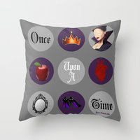 regina mills Throw Pillows featuring Once Upon A Time, Regina Mills by Your Friend Elle