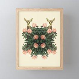 Deer Pink Flowers Retro Vintage Floral Pattern Botanical  Framed Mini Art Print