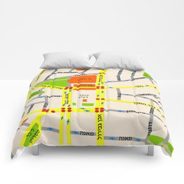 Tel Aviv map design - written in Hebrew Comforters