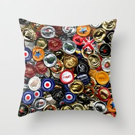 Beer Bottletops Throw Pillow