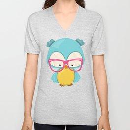 Hipster Owl, Owl With Glasses, Blue Owl Unisex V-Neck