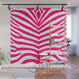 Bright Neon Pink and White Zebra Animal Safari Stripes Wall Mural