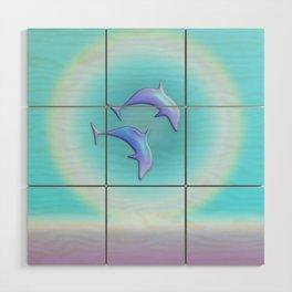 Dolphin Joy in Blue Wood Wall Art
