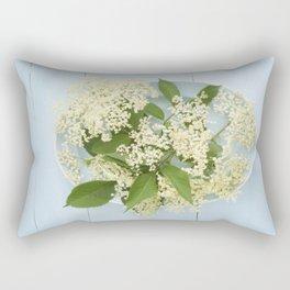 Elderflowers on a blue plate Rectangular Pillow
