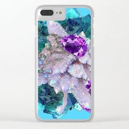 PURPLE AMETHYST  AQUAMARINE QUARTZ CRYSTAL ART Clear iPhone Case