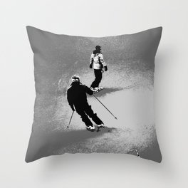 Skiing and Snowboarding Winter Fun Throw Pillow