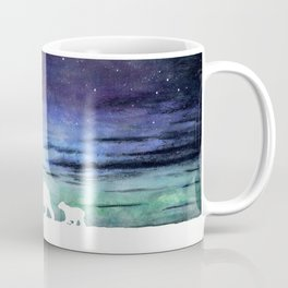 Aurora borealis and polar bears (white version) Coffee Mug