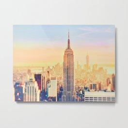 New York City Sunset Glow Metal Print